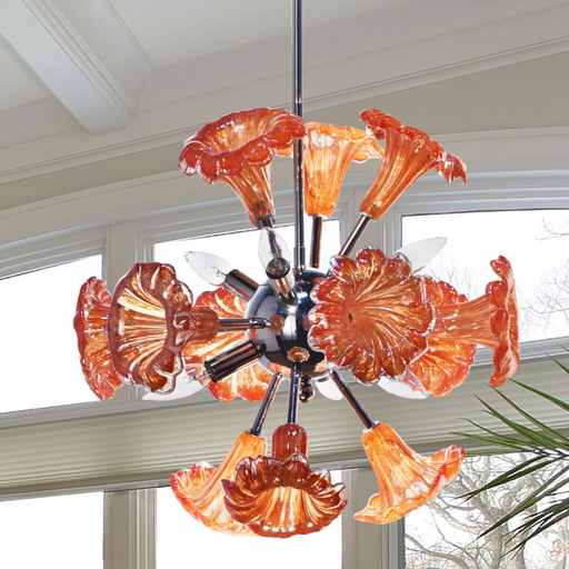 Yuri Orange 6-Light Art Glass Hanging Fixture