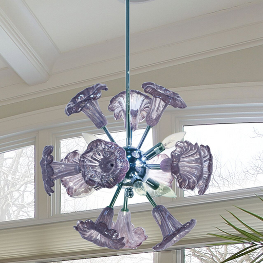 Yuri Purple 6-Light Art Glass Hanging Fixture