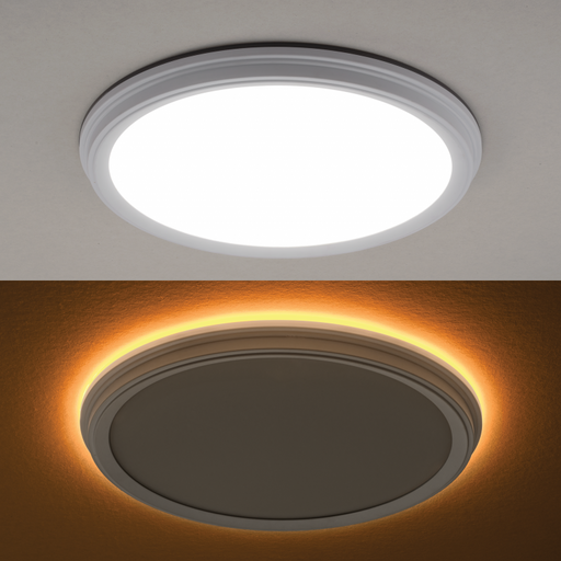 ETI FMNL-11IN-900LM-8-CP3-SV-TD 11″ Snap-Fit LowPro Color Preference Flushmount with 2000K Night Light