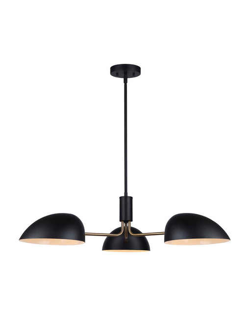 Canarm ICH1054A03BKG Hinton Matte Black and Gold Chandelier