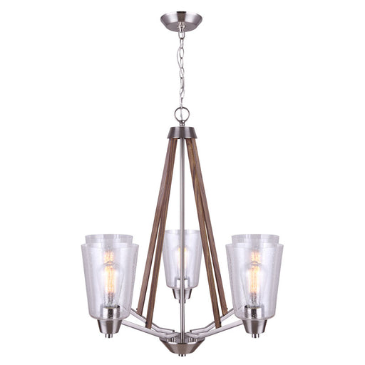 Canarm ICH742A05BNW Dex Chandelier in Brushed Nickel and Wood