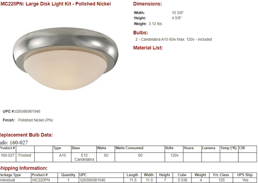 ***CLEARANCE*** Monte Carlo Ceiling Fan Light Kit MC220-PN Large Disk Polished Nickel Matte Opal