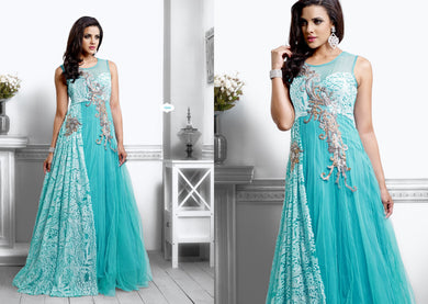 Designer Semi Stitched Western Dress Sky Blue Net Long Gown SC1044 - Ethnic's By Anvi Creations