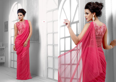 Designer Semi Stitched Western Dress Pink Net Long Gown SC1045 - Ethnic's By Anvi Creations
