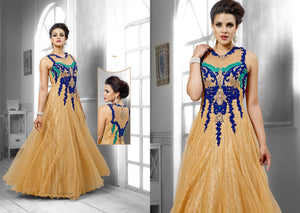Designer Semi Stitched Western Dress BeigeNet Long Gown SC1046 - Ethnic's By Anvi Creations