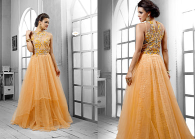 Designer Semi Stitched Western Dress Light Yellow Net Long Gown SC1048 - Ethnic's By Anvi Creations