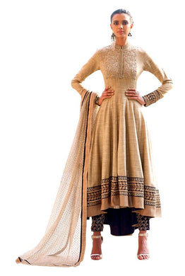 Designer Semi Stitched Beige Fusion Style Dress Material NAK11036 - Ethnic's By Anvi Creations