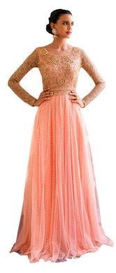 Designer Semi Stitched Peach Fusion Style Net Dress Material NAK11038 - Ethnic's By Anvi Creations