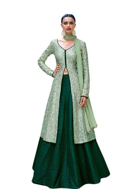 Designer Semi Stitched Pista Green Fusion Style Bhagalpuri Dress Material NAK11041 - Ethnic's By Anvi Creations
