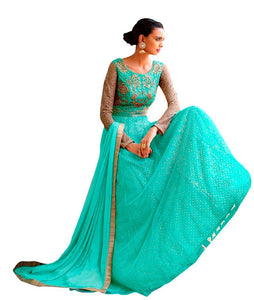 Designer Semi Stitched Sea Green Fusion Style Net Dress Material NAK11043 - Ethnic's By Anvi Creations