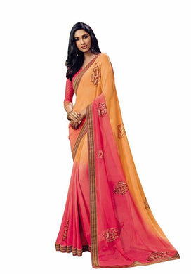 Orange Pink Georgette Lacer Border Saree SC1116 - Ethnic's By Anvi Creations