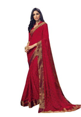 Maroon Georgette Lacer Border Saree SC1908 - Ethnic's By Anvi Creations