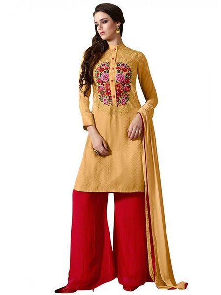 Yellow Georgette Embroidered Dress Material With Chiffon Dupatta M1124