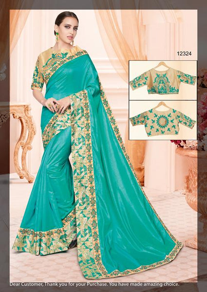 Designer Two Tone Turquoise Silk Border Saree with Semi Stitched Blouse MM12324