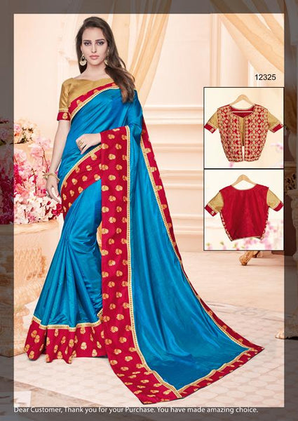 Designer Two Tone Blue Silk Border Saree with Blouse and Jacket MM12325
