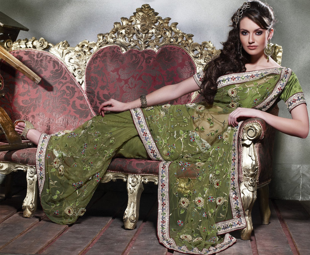 Designer Olive Green Net Embroidered saree SC132 - Ethnic's By Anvi Creations
