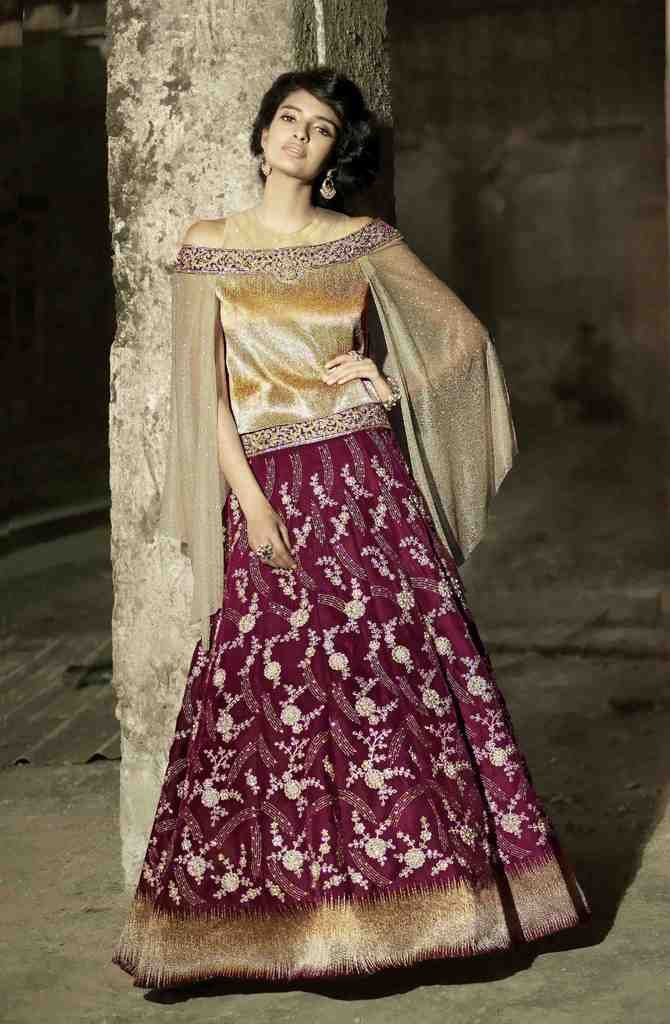 Heavy Wedding  Velvet Pink Cream   Lehenga Choli SC15005