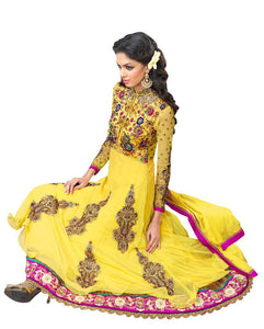 Yellow Net and Cottton Silk Anarkali Dress Material Noor1517B - Ethnic's By Anvi Creations