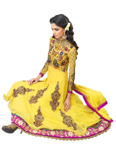 Yellow Net and Cottton Silk Anarkali Dress Material Noor1517B