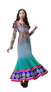 Turquoise Blue Net Anarkali Dress Material Noor1521A - Ethnic's By Anvi Creations