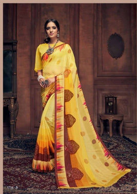 Designer Yellow Printed Chiffon Saree S1794B