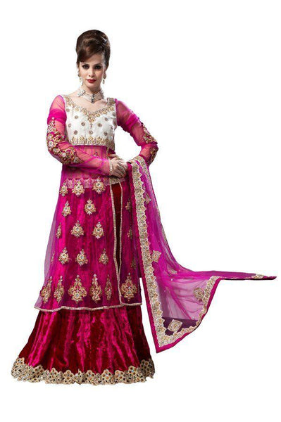 Deep Pink  Net Lehenga Choli Dupatta Fabric Only LC185 - Ethnic's By Anvi Creations