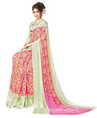 Pink Satin Border Georgette Saree SC19812 - Ethnic's By Anvi Creations
