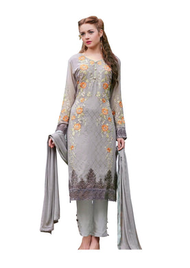 Designer Semi Stitched Grey Georgette Dress Material SC2003 - Ethnic's By Anvi Creations