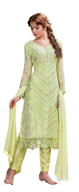 Designer Semi Stitched Light Green Georgette Dress Material SC2006 - Ethnic's By Anvi Creations