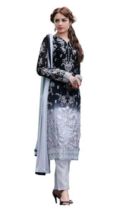 Designer Semi Stitched Black & Grey Georgette Dress Material SC2010 - Ethnic's By Anvi Creations