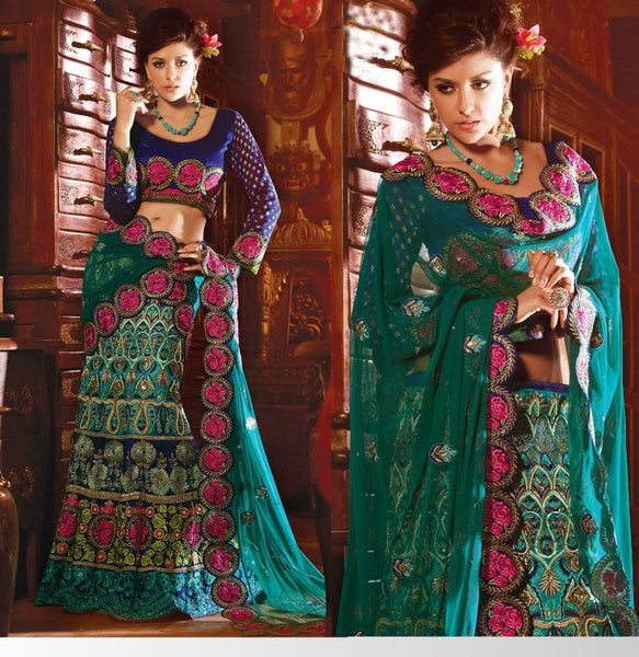 Blue and Teal Embroidered Raw Silk and Net Lehenga Choli SC2111b - Ethnic's By Anvi Creations