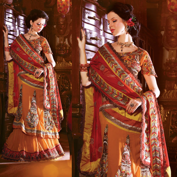Orange and Golden Yellow Embroidered Net Georgette Lehenga Choli SC2112 - Ethnic's By Anvi Creations