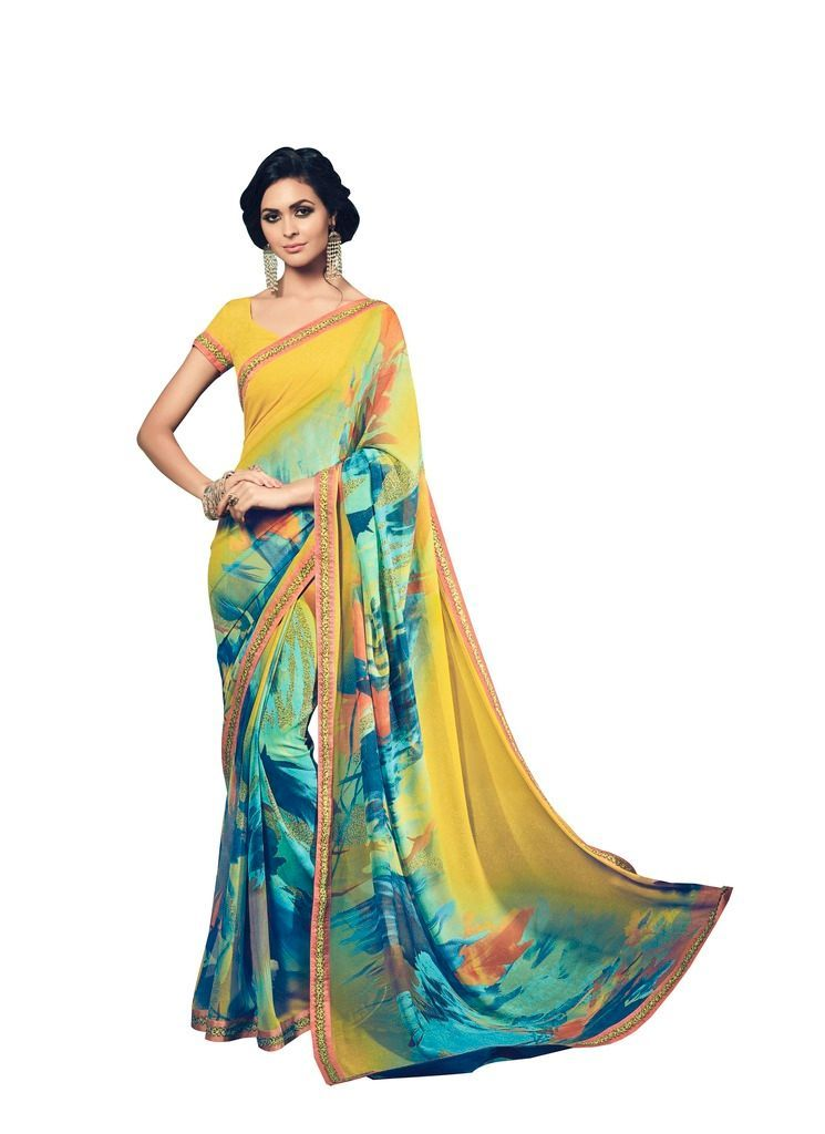 Turquoise Yellow Double Print Marble Georgette Saree with Lacer Border SC21210 - Ethnic's By Anvi Creations