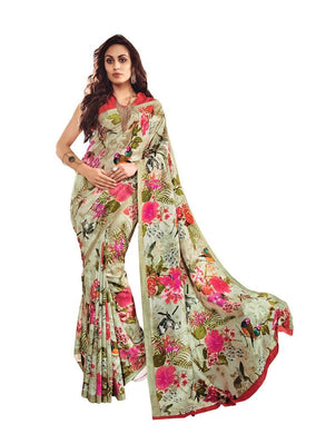 Green Printed Georgette Saree SC21323 - Ethnic's By Anvi Creations