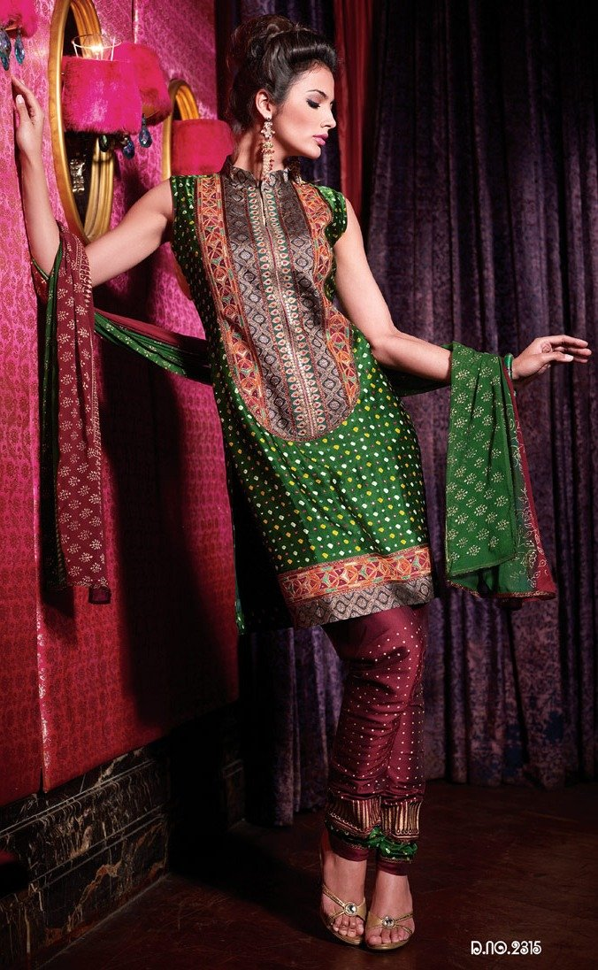 Green Embellished Silk Stitched  Salwar kameez Churidar SC2315 - Ethnic's By Anvi Creations