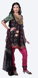 Black Pink Embellished Cotton Stitched  Salwar kameez Churidar SC2406 - Ethnic's By Anvi Creations