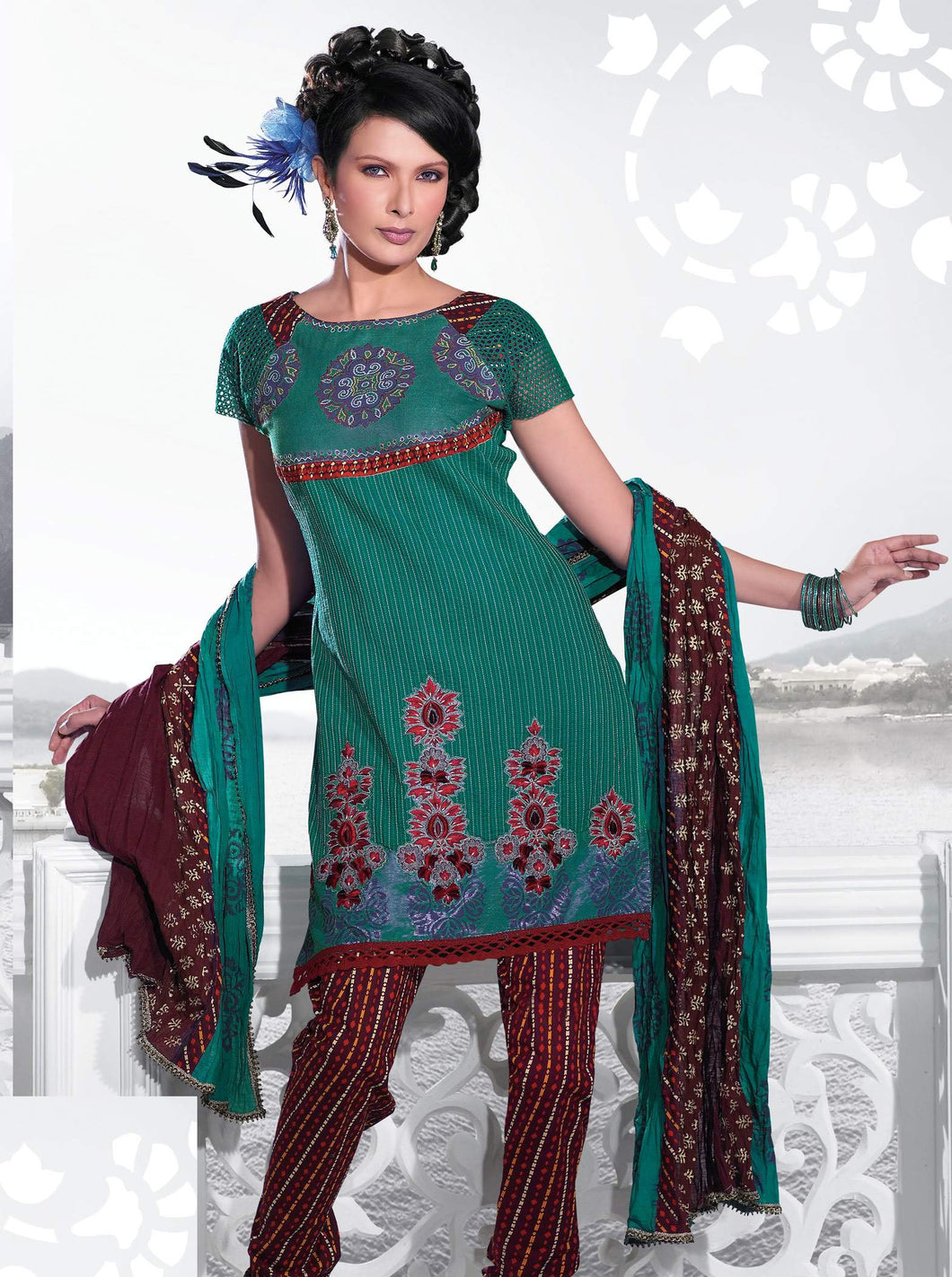 Turquoise Multi Embellished Cotton Stitched  Salwar kameez Churidar SC2408 - Ethnic's By Anvi Creations