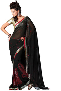 Designer Black Georgette embroidered Saree SC2421 - Ethnic's By Anvi Creations