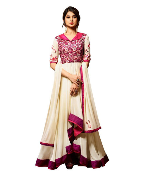 Designer Off White Pink Semi Stitched Banglore Silk Georgette Dress Material Janet24410