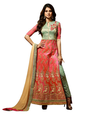 Designer Peach Green Semi Stitched Banglore Silk Dress Material Janet24413 - Ethnic's By Anvi Creations
