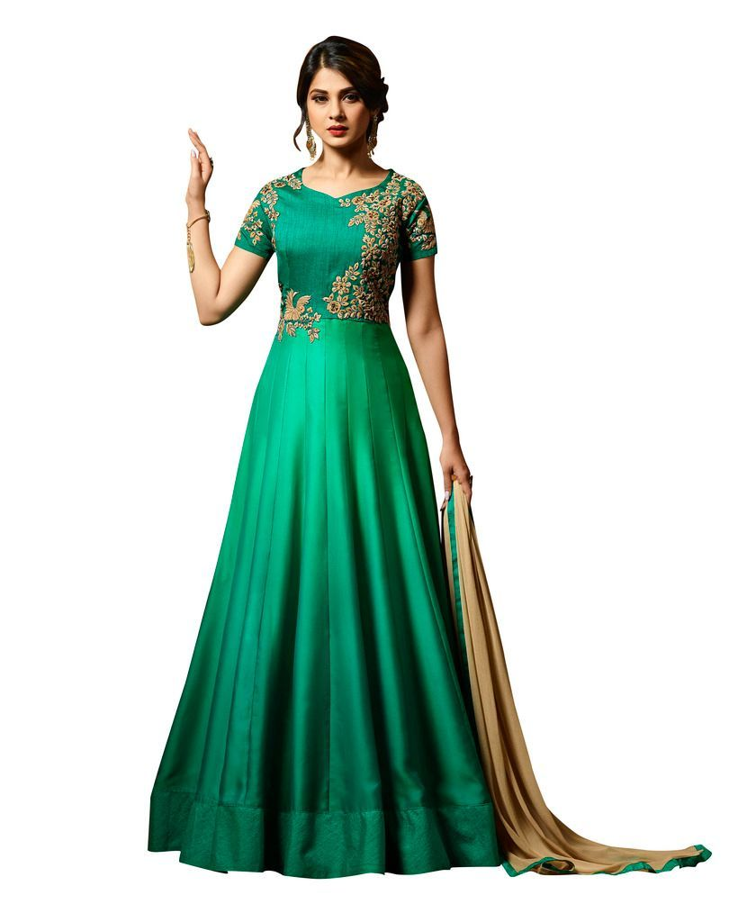 Designer Green Semi Stitched Satin Silk Dress Material Janet24414 - Ethnic's By Anvi Creations