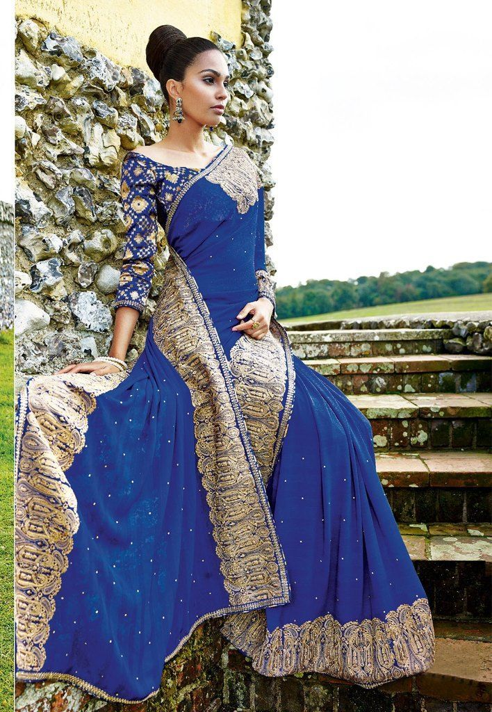 Designer Partywear Blue Embroidered Chiffon Saree SC2564 - Ethnic's By Anvi Creations