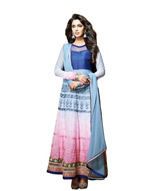 Designer Semi Stitched Blue Georgette Long Anarkali Dress Material SC2604 - Ethnic's By Anvi Creations