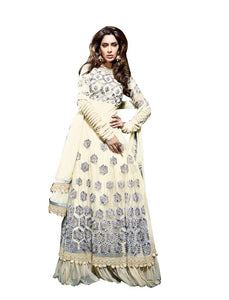 Designer Semi Stitched Cream Georgette Long Anarkali Dress Material SC2606 - Ethnic's By Anvi Creations