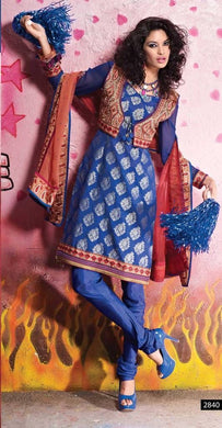 Blue Benaras Cotton Silk Embroidered Jacket Suit Dress Material SC2840 - Ethnic's By Anvi Creations