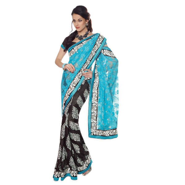 Designer Blue and BlackEmbroidered Net and Chiffon Jacquard saree SC30013B