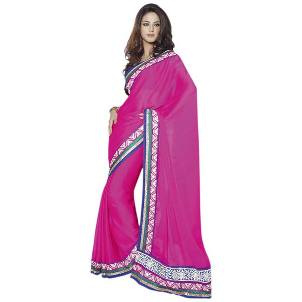 Designer Bollywood Indian Pink Embroidered chiffon saree SC30014C - Ethnic's By Anvi Creations