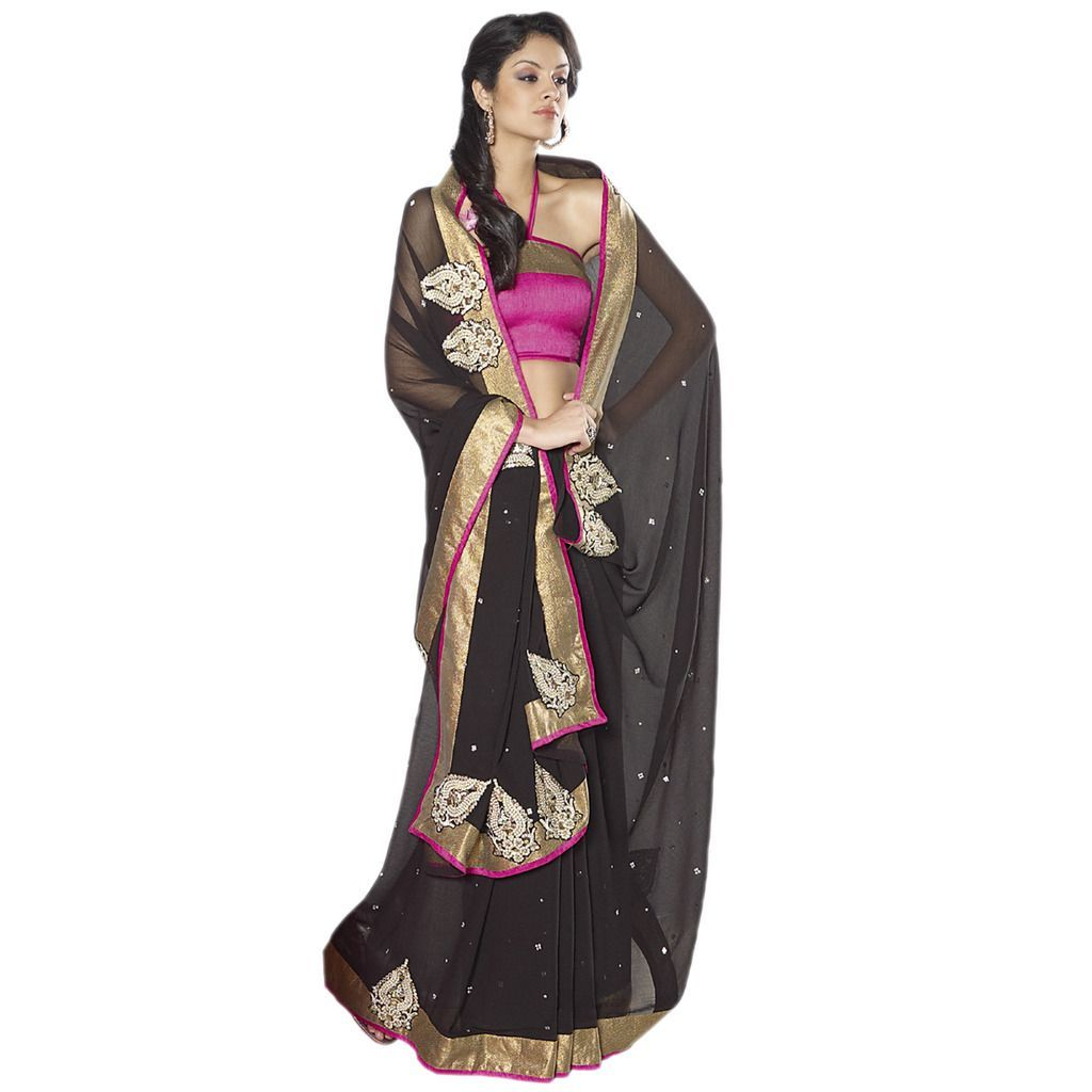 Designer Bollywood Indian Black Embroidered chiffon saree SC30022B - Ethnic's By Anvi Creations