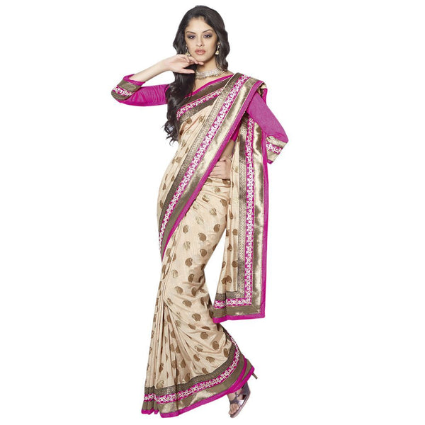Designer Bollywood Indian Cream Embroidered Nylon Zari Butti saree SC30023B - Ethnic's By Anvi Creations
