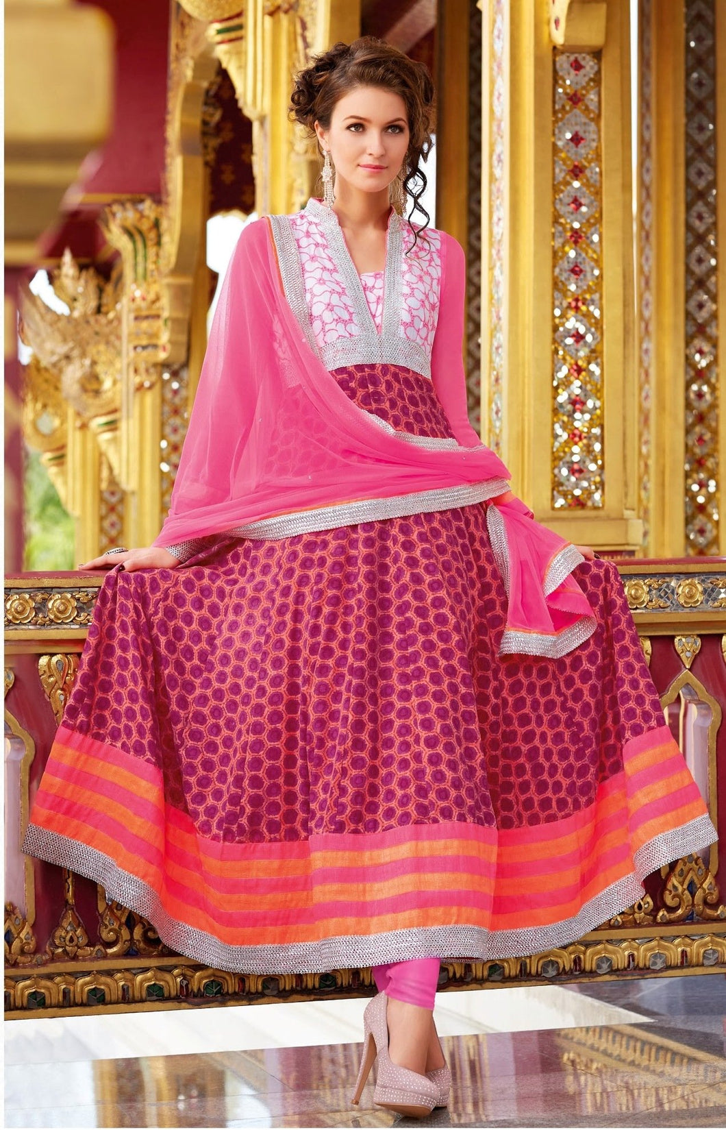 Designer Semi Stitched Pink Cotton Anarkali Dress Material SC3012A - Ethnic's By Anvi Creations